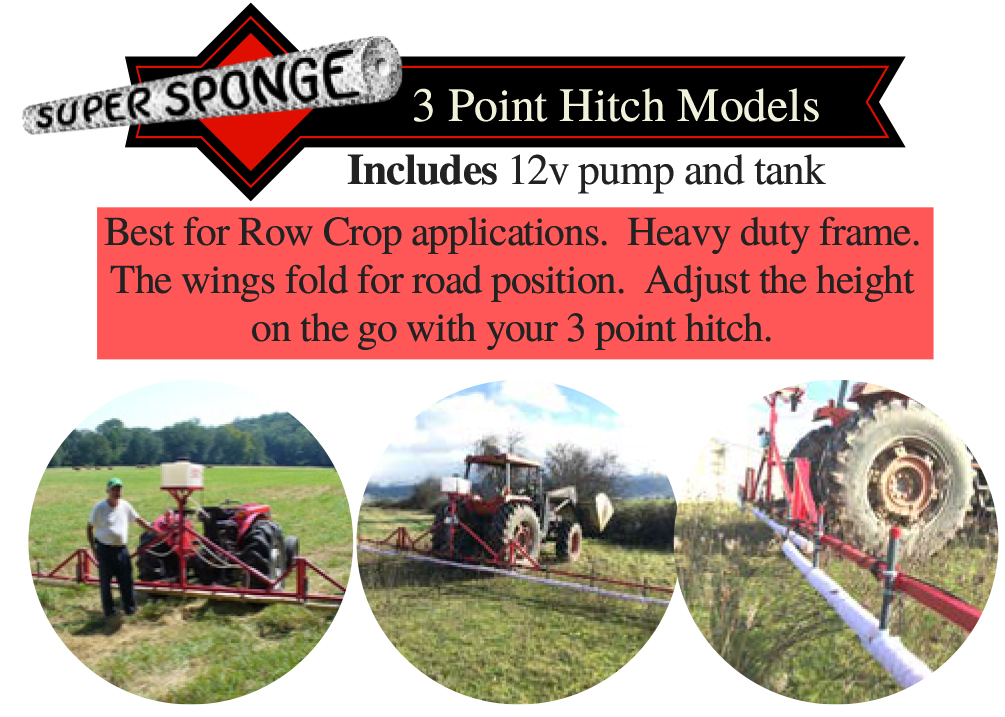 Super Sponge Weed Wipers - 3-Point Hitch